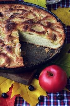 Torta de maçãs. charlotte. o bolo na panela e vermelho maçã na mesa com uma toalha de mesa em uma gaiola.