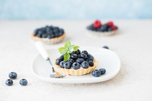 Torta de mirtilo com creme, cheesecake com frutas vermelhas no prato