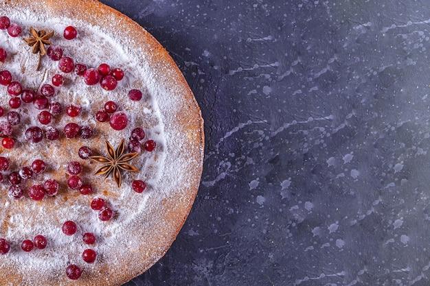 Torta de natal decorada com açúcar de confeiteiro e cranberries.