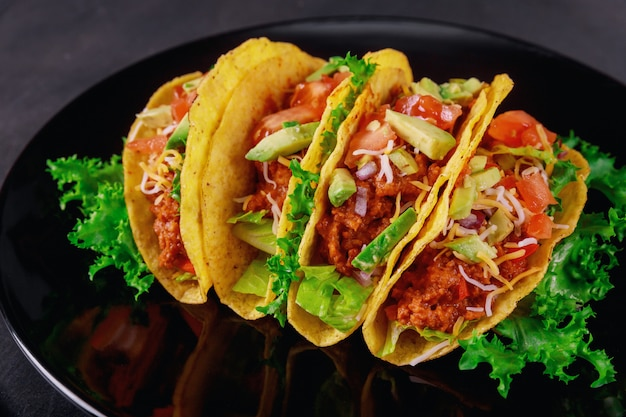 Tortilha quente fresco de estilo de comida mexicana com legumes com salsa