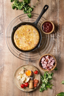 Tortilla de batata com bacon