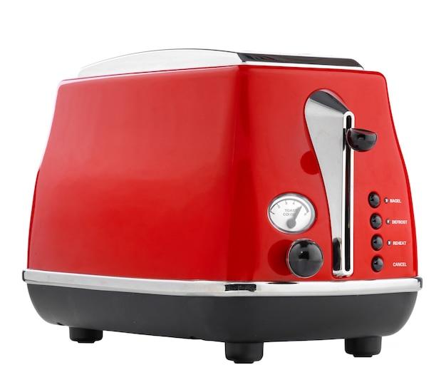 Toster vermelha elegante para pão isolada no fundo branco