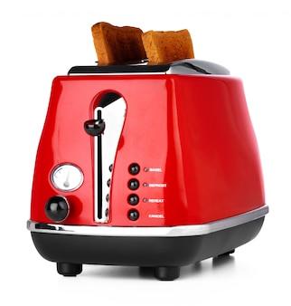 Toster vermelho elegante para pão isolado