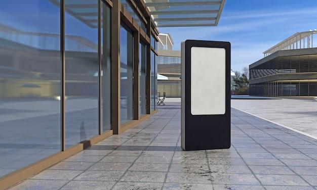 Totem e kiosk digital signage renderizado em 3d