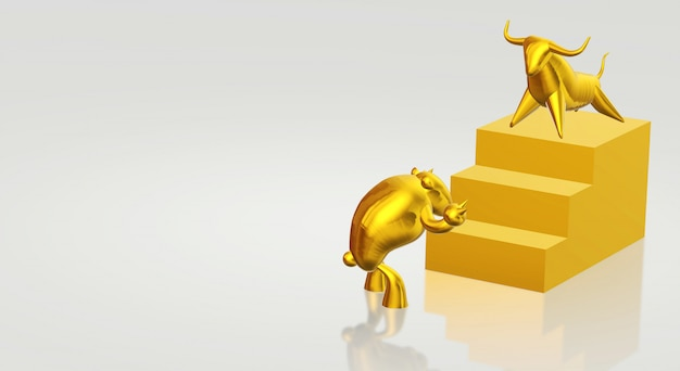 Touro do ouro da rendição 3d e índice de negócio do urso.