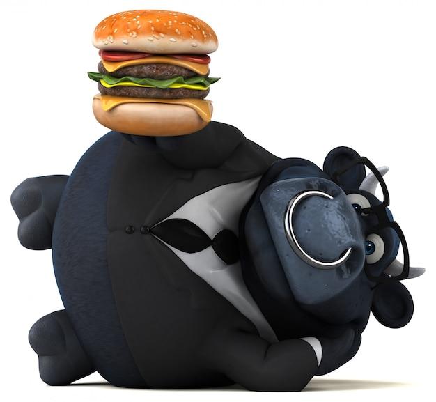 Touro preto com hambúrguer