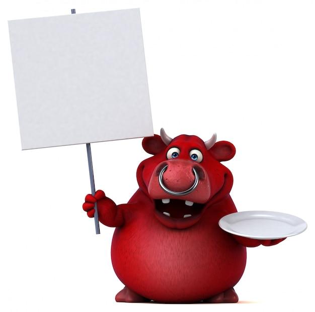 Touro vermelho com cartaz em branco ilustração 3d