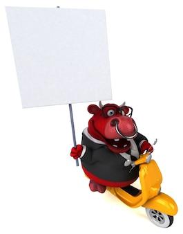 Touro vermelho divertido - ilustração 3d