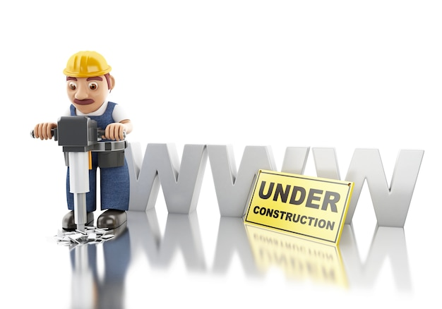 Trabalhador 3d com britadeira. construção de sites
