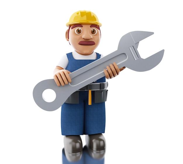 Trabalhador 3d com helemt e enorme chave