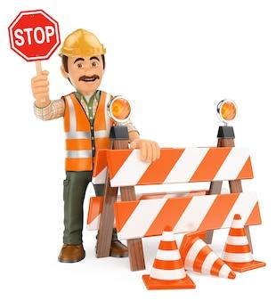 Trabalhador 3d com sinal de stop. em construção