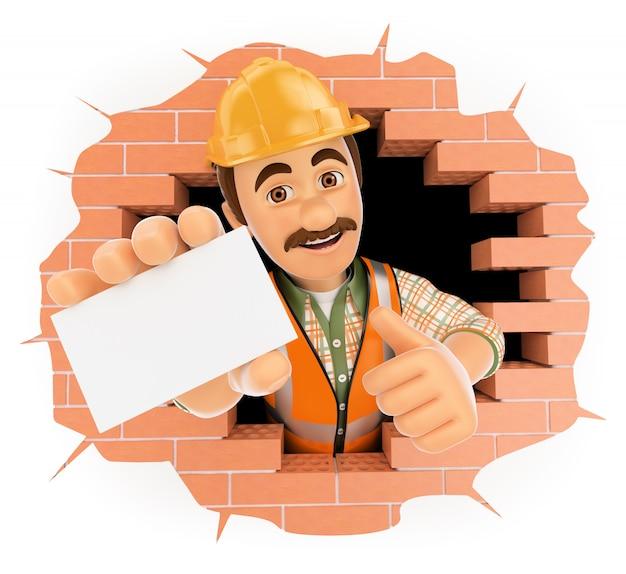 Trabalhador 3d saindo de um buraco na parede com um cartão em branco