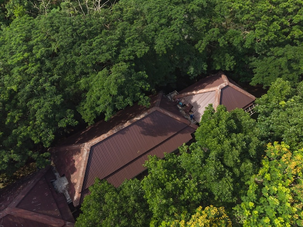 Trabalhador asiático fixação telhado do edifício
