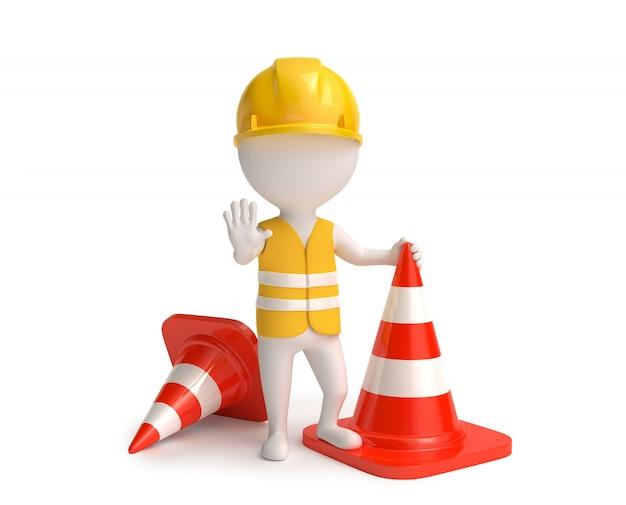 Trabalhador com cones de trânsito