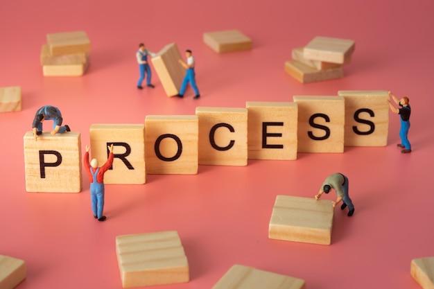 Trabalhador construir palavra de processo