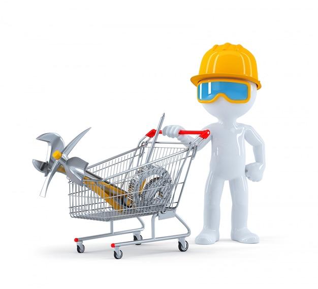 Trabalhador / construtor com carrinho cheio de ferramentas de construção