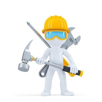 Trabalhador / construtor de construção com martelo.