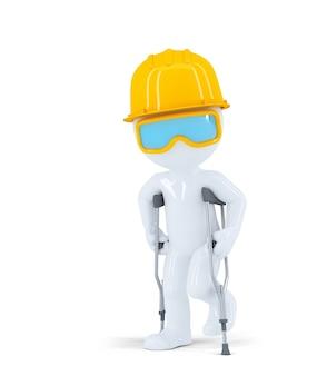 Trabalhador / construtor de construção em muletas
