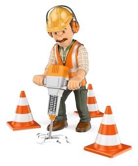 Trabalhador da construção civil 3d com um martelo hidráulico portátil