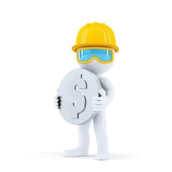 Trabalhador da construção civil com moeda