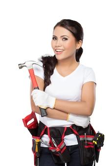 Trabalhador da construção civil feminino pronto para trabalhar
