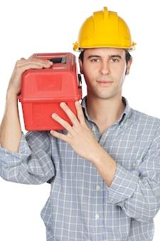 Trabalhador da construção civil sobre fundo branco