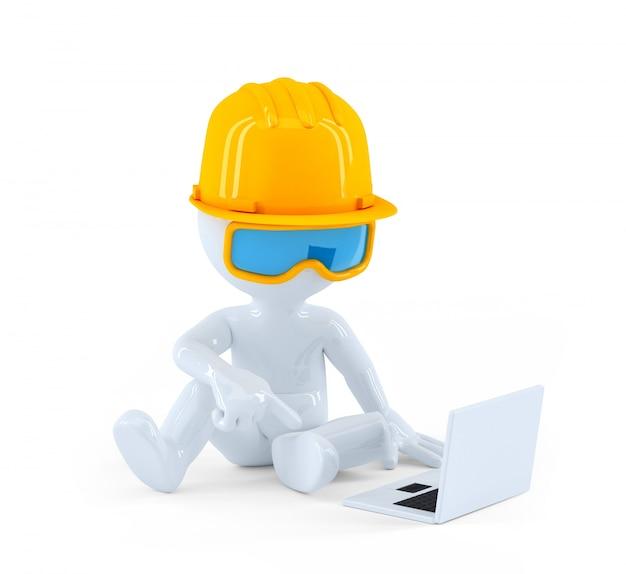 Trabalhador da construção civil usando o laptop