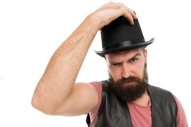 Trabalhador de circo mágico. homem barbudo mágico. personagem mágico. conceito de desempenho do truque do mágico. pronto para ver alguma magia. desempenho do truque de mágica do circo. espere aí, é um truque de mágica.