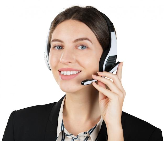 Trabalhador de serviço ao cliente de mulher