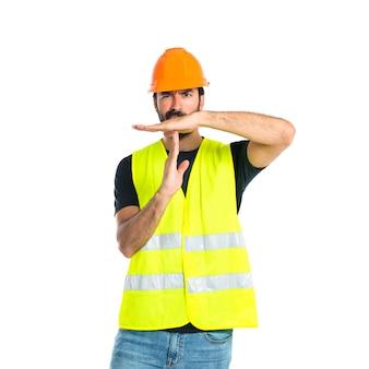 Trabalhador, fazer, tempo, saída, gesto, branca, fundo