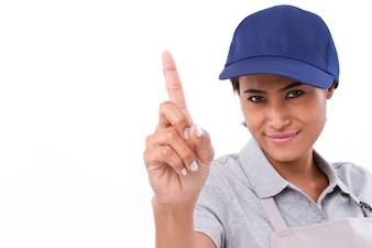 Trabalhador feminino confiante, mostrando um gesto do dedo