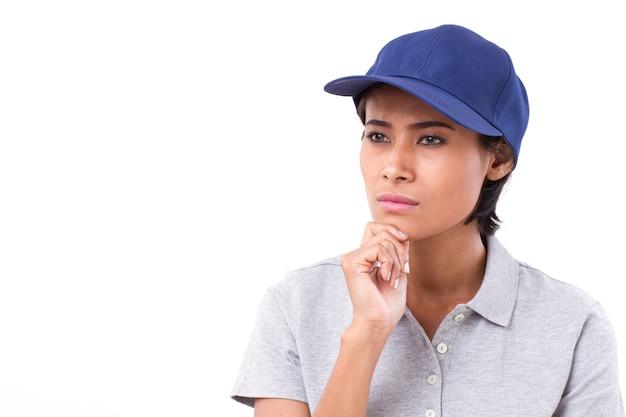 Trabalhador feminino pensando, planejando, tomando uma decisão