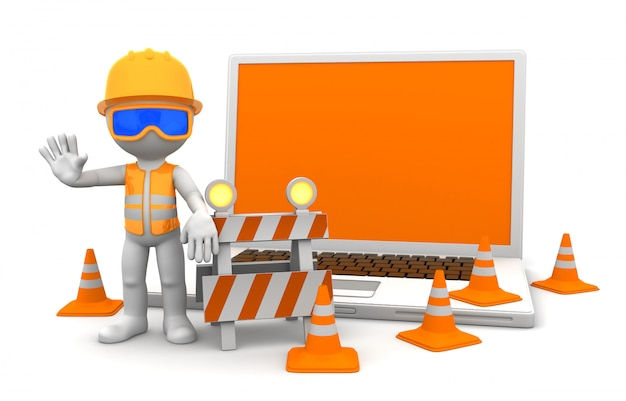 Trabalhador industrial com laptop