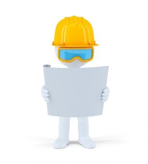 Trabalhador industrial com o plano de construção