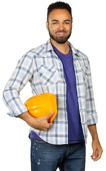 Trabalhador industrial isolado no branco