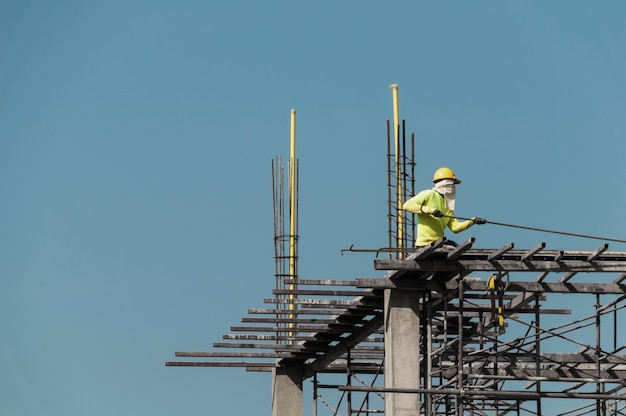 Trabalhador, ligado, um, local construção