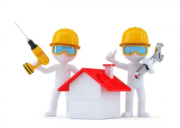 Trabalhadores da construção civil com casa. isolado. contém o traçado de recorte