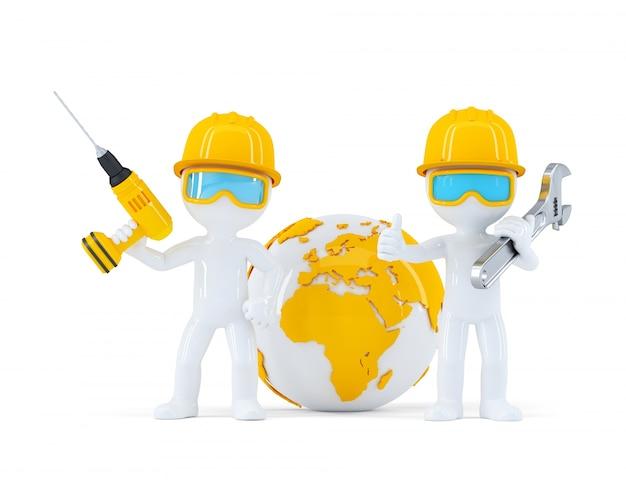 Trabalhadores da construção civil com globo