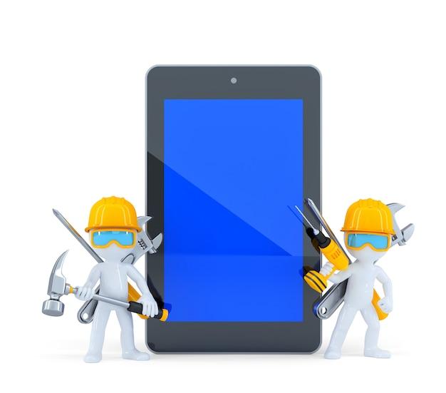 Trabalhadores da construção civil com tablet pc. isolado. contém o traçado de recorte da tela do tablet e toda a cena