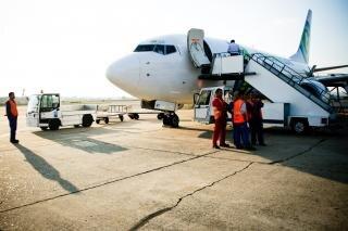 Trabalhadores de avião