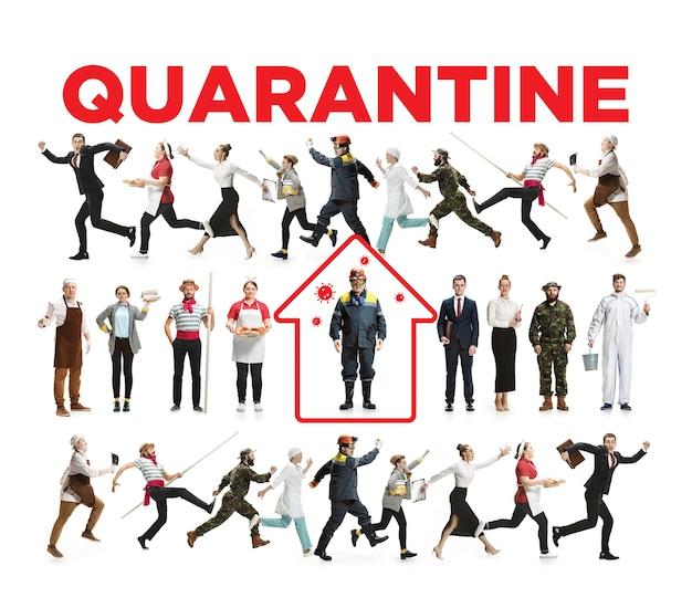 Trabalhadores de diferentes profissões mantendo quarentena contra a propagação do corovanírus. proteção contra epidemia de vírus chinês de pneumonia, pandemia. fique em casa se você se sentir doente. prevenção, conceito de segurança.