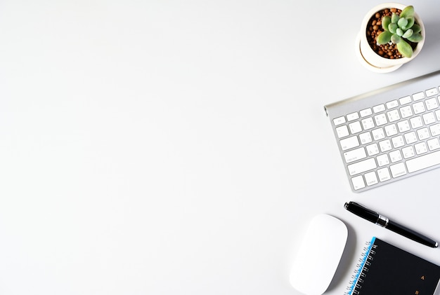 Trabalhando com copyspace do laptop e do cacto no fundo da tabela. vista superior, conceito de negócio