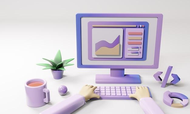 Trabalhando em laptops e computadores em casa, 3d, ilustração