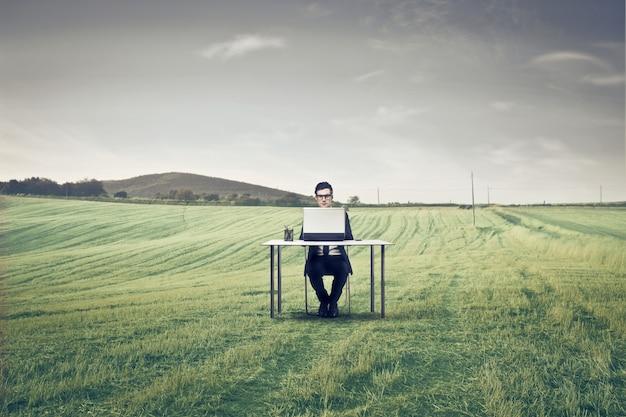 Trabalhando em um laptop de um prado