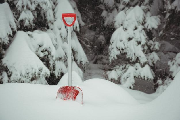 Trabalhar com pá em uma paisagem de neve