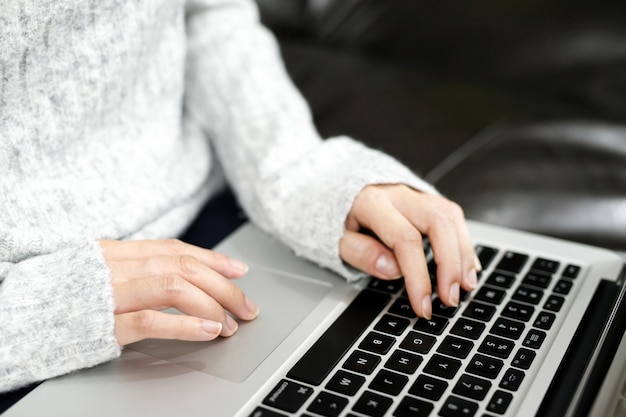 Trabalhe em casa, as mulheres trabalham com o computador em casa