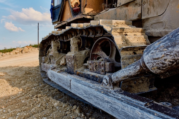 Trabalho de construção de nivelamento de solo de escavadeira de grande máquina