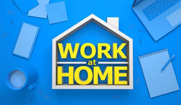 Trabalho em casa escritório em casa fundo azul e laptop telefone xícara de café bloco de notas clipes de papel