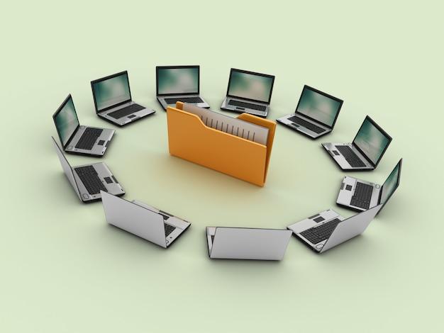 Trabalho em equipe de computadores portáteis com pasta de arquivos