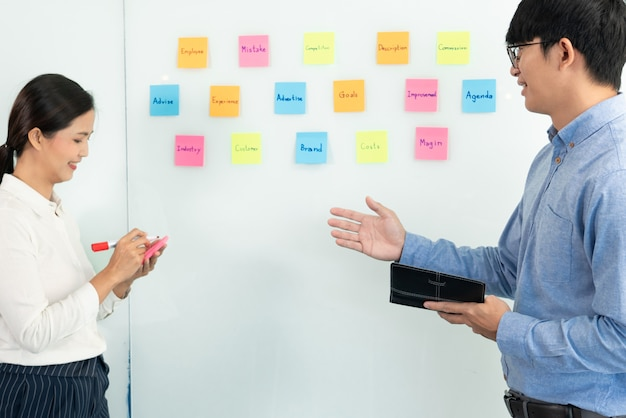 Trabalho em equipe na reunião e nota adesiva na placa do espelho discutindo com a equipe na sala do escritório para coletar um plano de brainstorming de ideias.